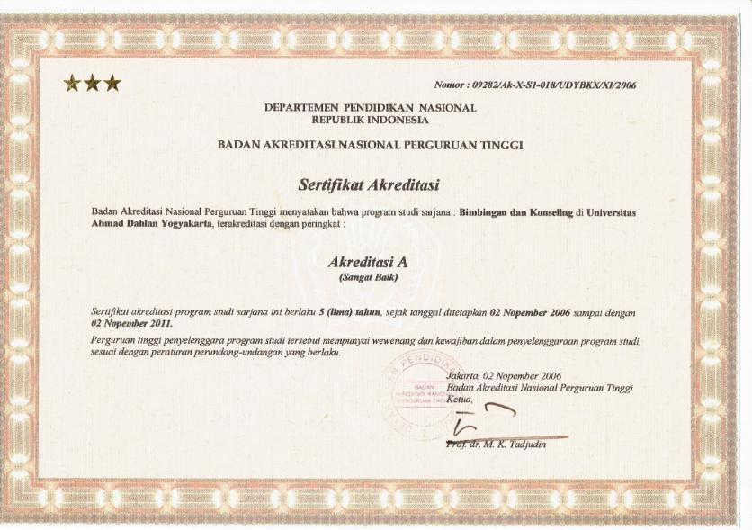Sertifikat Akreditasi Tahun 2006