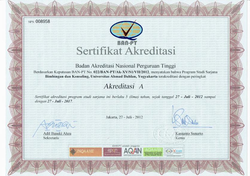 Sertifikat Akreditasi Tahun 2012